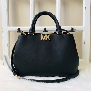 MK Florence Medium Black Satchel
